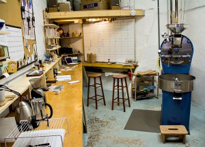 Conduit Coffee's small roasting room in the Westlake neighborhood. (Credit: Justin Steyer/KPLU)