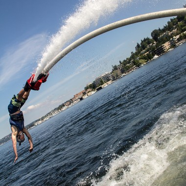 Mike Jeffery of AV Water Sports flyboards on Lake Washington. (Credit: Justin Steyer)