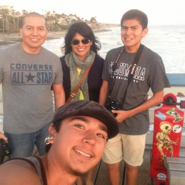 """At the pier with Raye, Anderson, and Christian. Another great family helping me on my journey."" (Credit: Nelson Kiefert)"