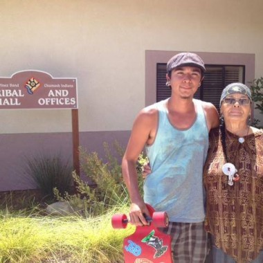 """Outside the tribal hall with Adelina the Tribal Spiritual leader (in Solvang, Calif.)"" (Credit: Nelson Kiefert)"