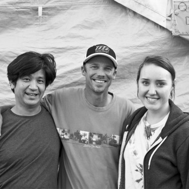 Taiji Miyasaka, left, Tent City 3 resident Daniel, and student Cassie Lang, right. (Credit: Rex Hohlbein)