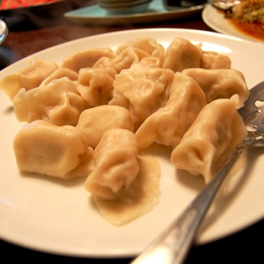 The dumplings are boiled and ready to eat. (Martha Kang/KPLU)