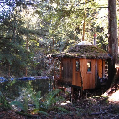 The Stump House sits next to a trout pond. (Martha Kang/KPLU)