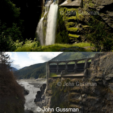 The two images show the evolving landscape of the Glines Canyon Dam. (Courtesy of John Gussman)