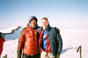 Bruce Stobie and his guide, Mike Haugen, at the top of Rainier in 2009.  (Courtesy: Bruce Stobie)