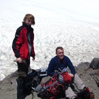 Bruce Stobie and his son, Duncan, are seen at Camp Muir on Mount Rainier in 2011. (Courtesy: Bruce Stobie)