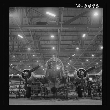 December 1942: A nearly complete B-17F (Flying Fortress) bomber at the Boeing's production line in the Seattle plant. (Andreas Feininger/Farm Security Administration)