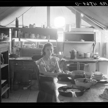 July 1936: Interior of fruit worker's tent. Yakima, Washington. (Dorothea Lange/Farm Security Administration)