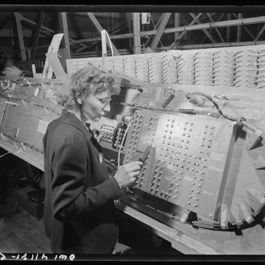 December 1942: Girl checking electrical wiring assemblies. (Andreas Feninger/Farm Security Administration)
