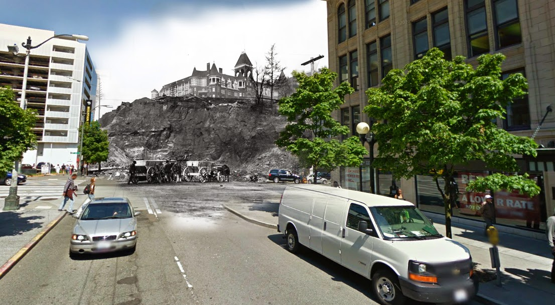 """Denny Hill as seen from 2nd and Pine, with the soon-to-be destroyed Denny Hotel. The hill was slightly more to the right, but I had trouble lining up the shot."""