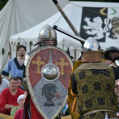 This photo shows two knights fighting during a previous SCA event. (Courtesy of Morgan Donner)