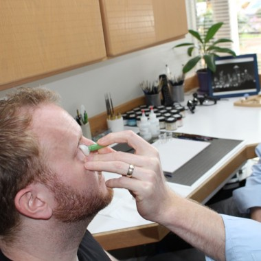 Tim gets a feel for his new eye.